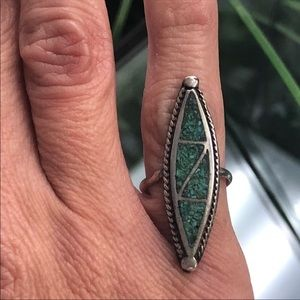 Jewelry - Vintage Sterling Silver Turquoise Inlay Ring
